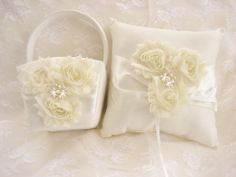Ring Bearer Pillow Flower Girl Basket  Vanilla by nanarosedesigns, $45.00