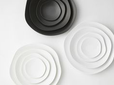 $210 per set 4. Organic shaped porcelain plates from Japan. Waves of Nature.