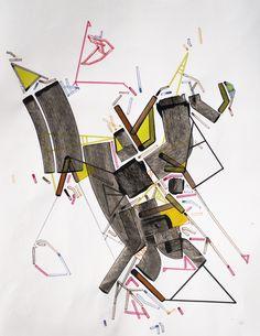 """Uuser Urrba 600"", Philippe Halaburda, Acrylic, Felt Tip, Colored Pencil on Paper, 26"" x 20"