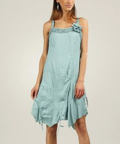 Love this Green Keyhole-Back Handkerchief Dress - Women by L33 by Virginie&Moi on #zulily! #zulilyfinds