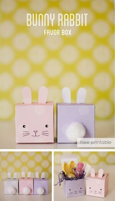 bunny rabbit favor box for easter or spring, free printable