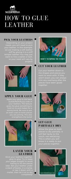 Stiffen your soft leathers or hold your layers in place while you stitch them together. Glue can help you finish your projects with ease! The Effective Pictures We Offer You About how to make Glue A q Sewing Leather, Leather Gifts, Leather Craft, Soft Leather, Leather Earrings, Leather Jewelry, How To Make Glue, Diy Leather Projects, Cleaning