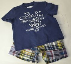 NWT Ralph Lauren Baby Boys size 3&6 month Navy Blue shirt, shorts, and belt set $26.99