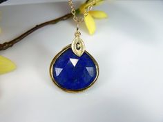 Custom Initial Necklace with Vermeil Bezel Rim Lapis Lazuli Pendant and Gold Filled Chain