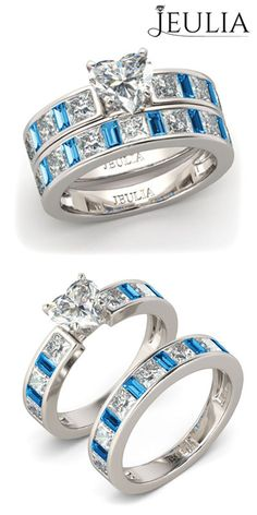 1.5CT Heart Cut Created White Sapphire with Aquamarine Sterling Silver Women's Wedding Bridal Set #jeulia