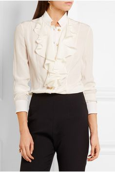 White silk crepe de chine  Button fastenings through front 100% silk Dry clean Made in Italy