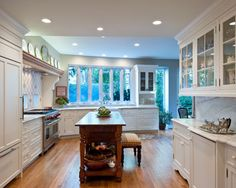 Warm and Antique Kitchen - Designed by Kitchen Elements traditional kitchen All White Kitchen, Country Kitchen, Home Epiphany, White Farmhouse Sink, Kitchen Cabinet Manufacturers, Maple Hardwood Floors, Open Concept Home, Black Countertops, Home Decor Kitchen