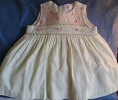 Children's Place 6-9 Mos Pale Green Smocked Embroidery 100% Cotton Slvless Dress #ChildrensPlace #DressyEverydayHoliday