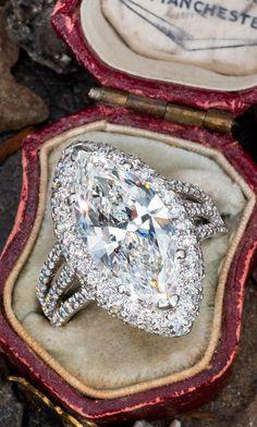 5 Carat Marquise Cut Center Diamond Sku EJ18577 Marquise Diamond, Marquise Cut, Vintage Inspired Engagement Rings, Diamond Engagement Rings, Aquamarine Jewelry, Big Rings, Pears, Vintage Love, Diamond Cuts