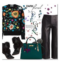 """""""Winter Dark Florals"""" by arethaman on Polyvore featuring Vince, Linda Farrow, Hermès, Gianvito Rossi, GetTheLook, victoriabeckham, floralsweater, darkflorals and leatherculottes"""