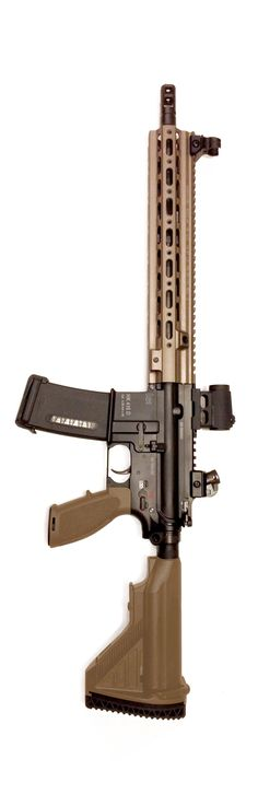 """14.5"""" HK416 on a S/A lower with 14.5"""" Geissele 416 Super Modular Rail."""