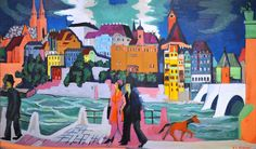 Ernst Ludwig Kirchner - View of Basel and the Rhine, 1928 at Saint Louis Art Museum - St Louis MO Emil Nolde, Ernst Ludwig Kirchner, Franz Marc, Wassily Kandinsky, Statues, Karl Schmidt Rottluff, Degenerate Art, Expressionist Artists, Saint Louis