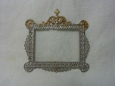 Vintage Miniature German Pewter Picture Frame House Altar #AS1
