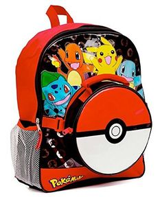 6a544a28dcf0 Pokemon Large Backpack and Pokeball Insulated Lunchbox Lunch Bag (Colors  may vary) Pokemon Go