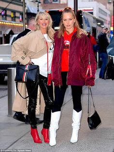 Mini-me:The stunner made the sidewalk her own personal runway as she was joined by her look-alike 19-year-old daughter Sailor Brinkley Cook