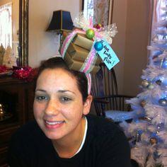 23de826164 Sarah s present hat! So easy and last minute! Christmas Headbands