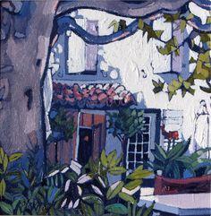 "La Terrasse, Montmirail Oil 8"" x 8"". Jennifer Irvine Rgi, Lemond Gallery"
