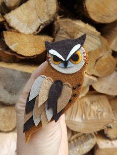 Long Eared Owl Brooch Brown Owl pin Woodland Bird In by FeltWitch, £12.00