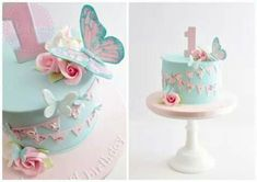 Butterflies, flowers and bunting birthday cake for a gorgeous little girl celebr. - Cakes - first birthday cake-Erster Geburtstagskuchen 1st Birthday Cake For Girls, Butterfly Birthday Cakes, Baby Birthday Cakes, Butterfly Cakes, Baby Cakes, Butterflies, Birthday Bunting, Birthday Diy, Cake For Baby Girl