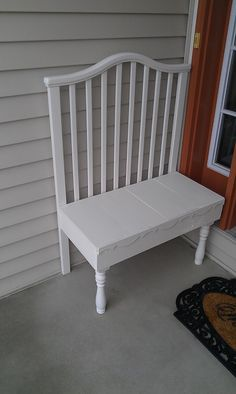 Thrifty Treasures: Small crib bench From a wobbly old baby crib to a front porch bench.