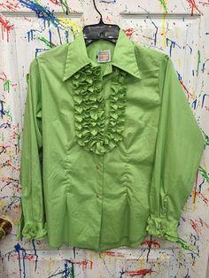 Womans tux ruffled vintage button down long sleeve Small 34 (equals boys small bright green with ruffles RagsAGoGo Tux Shirt, Shirt Dress, Bright Green, Equality, Button Downs, Ruffles, Trending Outfits, Boys, Long Sleeve