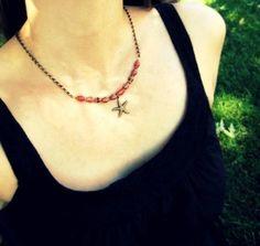 Red Beaded Starfish Necklace featuring Ugandan by WildPoppyShoppe, $19.00
