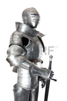 caballero medieval: Armadura del caballero medieval protección de metal del soldado contra el arma del oponente Foto de archivo