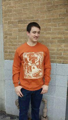 Men's T-shirt orange- Long sleeve - spring style fashion @ Black Bear Trading Asheville N.C.