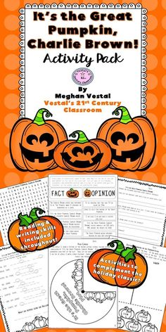 This It's the Great Pumpkin, Charlie Brown Activity Pack provides lots of great Halloween activities to use as part of your language arts instruction and centers. Upper elementary students will love these Great Pumpkin activities!  #vestals21stcenturyclassroom  #itsthegreatpumpkin  #itsthegreatpumpkincharliebrown  #halloweenactivities