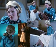 Very Chic! I love how all of Anne's outfits reflect the tones of the shot, A simple blue and black striped jumper paired with cream skirt and cream beret.