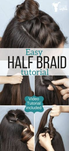 Freshen up you hairstyle with this easy updo that is super [& The post Adorable half braid tutorial. Freshen up you hairstyle with this easy updo that & appeared first on Trending Hair styles. Box Braids Hairstyles, Braided Hairstyles Tutorials, Concert Hairstyles, Hairdos, Braid Tutorials, Scene Hairstyles, Hairstyles For Short Hair Easy, Curly Braided Hairstyles, Drawing Hairstyles