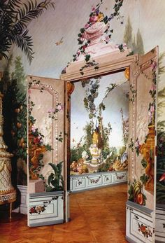 Garden room landscaping The romantic and idyllic landscapes of Austrian artist Johann Wenzel Bergel. These fresco paintings are in the Garden Rooms at Schloss Schonbrunn Vienna. Chinoiserie, Decoration, Art Decor, Home Decor, Interior And Exterior, Interior Design, French Country Bedrooms, Of Wallpaper, Zuber Wallpaper