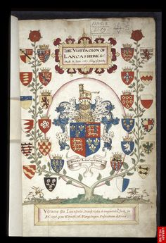 Title page decorated with a coloured drawing of an armorial tree with the arms of Lancashire noble families centred around those of the duchy of Lancaster
