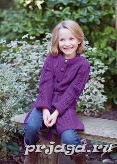 Вязание спицами пальто для девочки