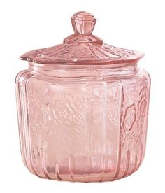 Art Glass | Mayfair Cookie Jar Pink Depression Style Glass