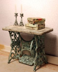 Sewing base w/reclaimed wood taop candlesticks books
