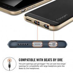 Spigen Neo Hybrid iPhone 6 Plus Case with Flexible Inner Protection and Reinforced Hard Bumper Frame for iPhone Plus / iPhone 6 Plus - Champagne Gold Cell Phone Cases, Iphone Cases, Web Patterns, Dre Headphones, Coque Iphone 6, Beats By Dre, Iphone 6 Plus Case, Apple Iphone 6, 6s Plus