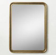 30Wx40H RH Teen $246 Rounded Edge Metal Trim Dresser Mirror - Brass