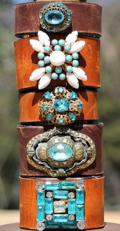 Boho Leather Cuff, Vintage Turquoise and Milk Glass Brooch by HappyGoLuckyJewels, $124.00