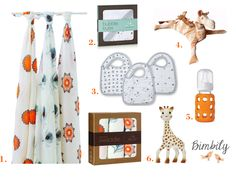 Spring Baby essentials: Mela Organic Swaddles from Aden and Anais, Muslin washcloth and hooded towel from Aden and Anais, Muslin Bibs in grey Twinkle, Sophie la Giraffe and baby bottle from Lifefactory. Perfection!