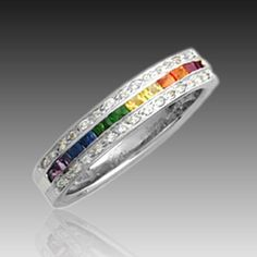 lesbian wedding bands | Home / Rings / Gem Rings / 14kt WG Precious Rainbow Ring with Diamonds ...