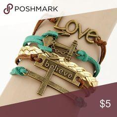 Multi Layered Brass Cross Bracelet Believe Plate Cross and Ship Hook Pendants Leather Bracelet Bundle with Handbag save on shipping Jewelry Bracelets