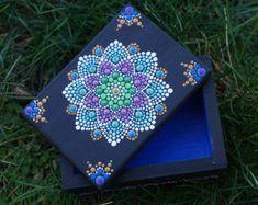 "Dot Mandala Box for Treasure Jewelry Mermaid Flower Spring Painted Wood Blue Purple Green Gold 3.5"" x 2.5"""