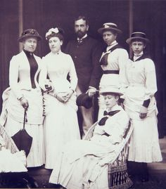 Royal Group: Empress Victoria of Germany, Princess Beatrice of Battenberg, Louis of Battenberg, Princesses Victoria and Sophie of Prussia and Victoria of Hesse-Darmstadt
