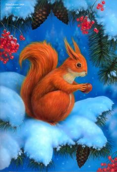 Acrylics on paper Created as illustration for New Year greeting card. Used airbrush and thin brush for details. The squirrel is one of the favorite russ. Art And Illustration, Illustrations Posters, Squirrel Girl, Cute Squirrel, Squirrels, New Year Greeting Cards, Christmas Greeting Cards, Christmas Greetings, Christmas Paintings