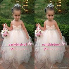 Buy 2015 New Lovely Bridal Flower Girl Dress Spaghetti Straps Tulle Beaded Waistband Floor Length Sparkling Little Girls Pageant Dresses BO6344 Online with the Low Price: $62.31 | DHgate.com