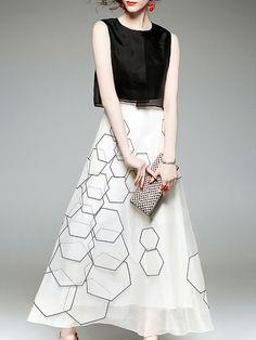 011850022f Stylewe Plus Size Midi Dress Daily Dress Vintage Silk Paneled Geometric  Dress Geometric Dress, Daily