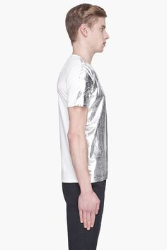 MAISON MARTIN MARGIELA Silver two-tone painted t-shirt