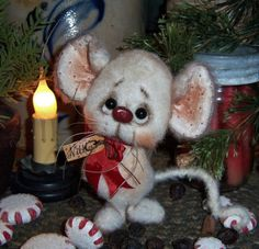 "Primitive Christmas Fuzzy Mouse Bear 5"" Ornament Mini Doll ★ Vtg Patti's Ratties"