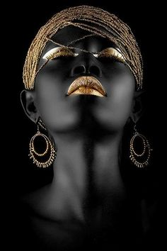 Black Art, Black Women Art, Black And White, Black Gold, Color Black, Art Women, African Beauty, African Women, African Art
